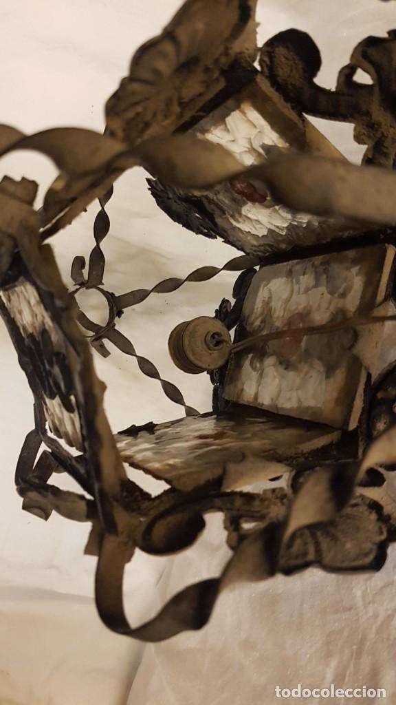 Antigüedades: FAROL MODERNISTA DE HIERRO ALTURA CON CADENA 80 CMTS - Foto 12 - 225803675