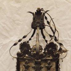 Antigüedades: FAROL MODERNISTA DE HIERRO ALTURA CON CADENA 80 CMTS. Lote 225803675