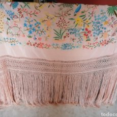 Antigüedades: ESPECTACULAR MANTON DE MANILA ESTILO CANTONÉS EN ROSA CORAL. Lote 225823491