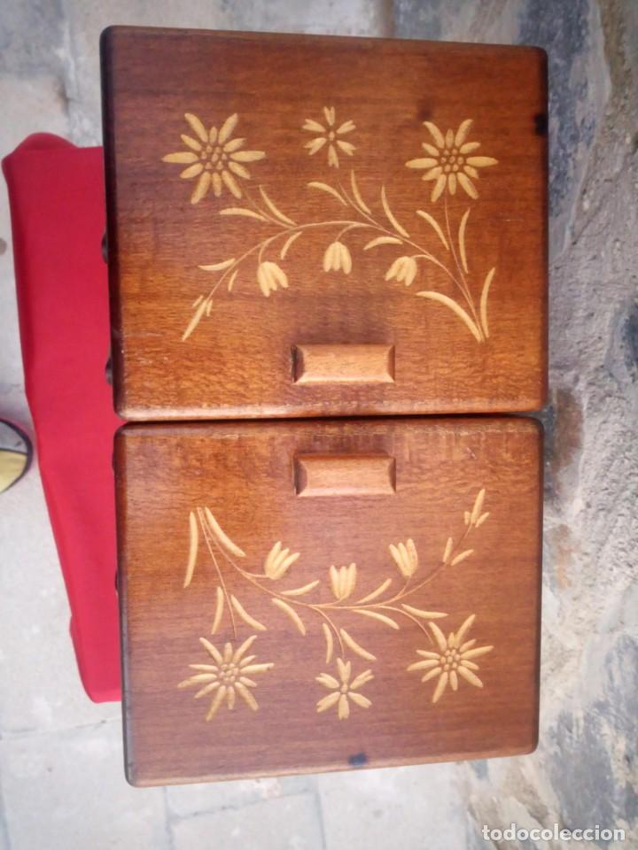 Antigüedades: Antiguo costurero de sobremesa de roble macizo,con varios departamentos,dibujos tallados - Foto 9 - 225855290