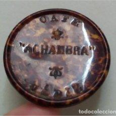 Antigüedades: ESPEJO REDONDO DE BOLSILLO CON PUBLICIDAD DE CAFÉ ALHAMBRA - CÁDIZ. Lote 225883651