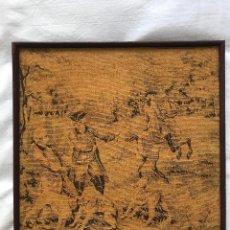 Antigüedades: ANTIGUO TAPIZ ENMARCADO, 24,5X24,5CM. Lote 225917106