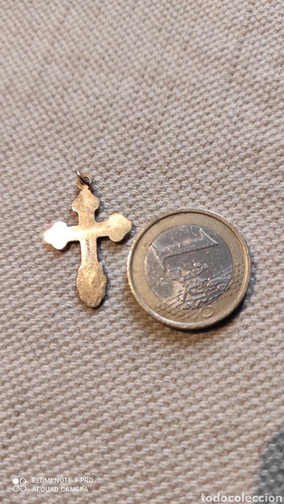 Antigüedades: COLGANTE.CRUZ CHAPADA EN ORO DE 14K.MARCADA. - Foto 3 - 225968821