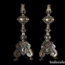 Antigüedades: PAREJA DE CANDELEROS EN PLATA (48 CM). Lote 225975735