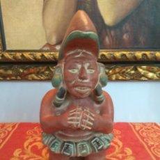 Antigüedades: FIGURA DIOS AZTECA EN BARRO O TERRACOTA REPRODUCCION AÑOS 80 VINTAGE. Lote 225994610