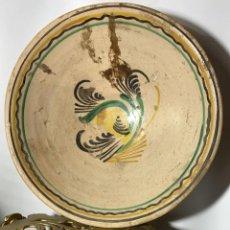 Antigüedades: FUENTE ANTIGUA DE BARRO PINTADA A MANO Y VIDRIADA DE 36 CMS. DE DIAMETRO. Lote 226002310