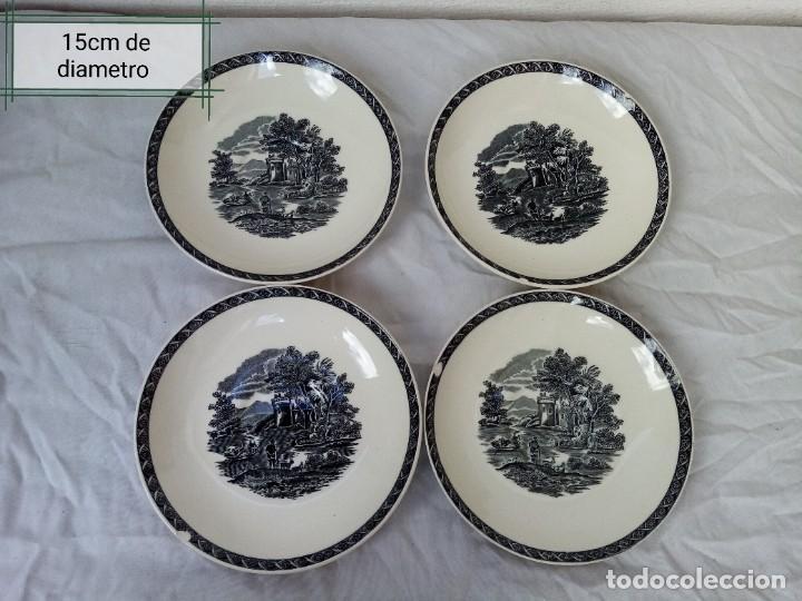 JUEGO DE 4 PLATOS DE PORCELANA DE LA MARCA ( WEDGWOOD) MADE IN ENGLAND (Antigüedades - Porcelanas y Cerámicas - Inglesa, Bristol y Otros)