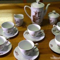 Antigüedades: ANTIGUO JUEGO DE CAFE PORCELANA PONTESA-DECORADO ESPECIAL PARA NESCAFE. Lote 226101562