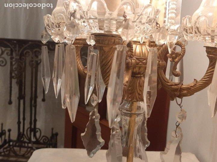 CANDELABRO ELECTRIFICADO DE BRONCE Y CRISTALES LAMPARA DE LÁGRIMAS (Antigüedades - Iluminación - Lámparas Antiguas)