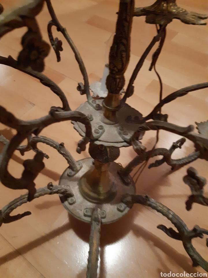 Antigüedades: Preciosa Lampara colgante realizada en Bronce antiguo. Ver descripción - Foto 3 - 226124490