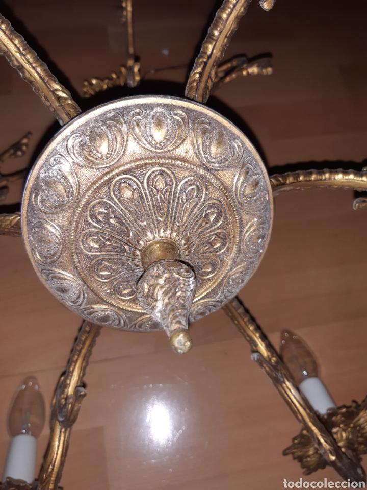 Antigüedades: Preciosa Lampara colgante realizada en Bronce antiguo. Ver descripción - Foto 13 - 226124490