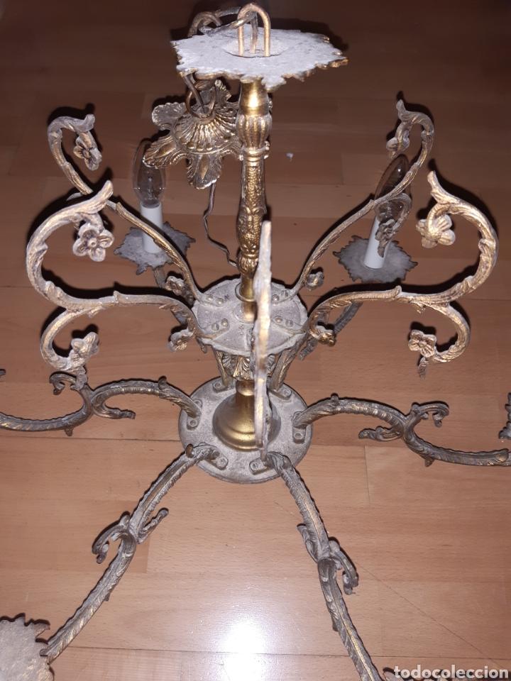 Antigüedades: Preciosa Lampara colgante realizada en Bronce antiguo. Ver descripción - Foto 14 - 226124490