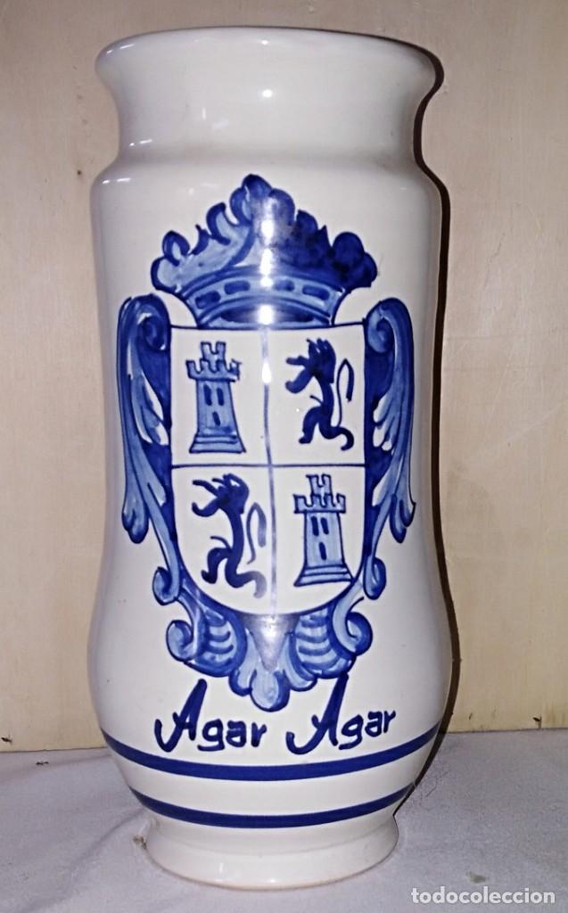 SMS- TARRO / ALBARELO FARMACIA. AGAR AGAR. TALAVERA PIEZA ÚNICA NUMERADA (Antigüedades - Porcelanas y Cerámicas - Talavera)