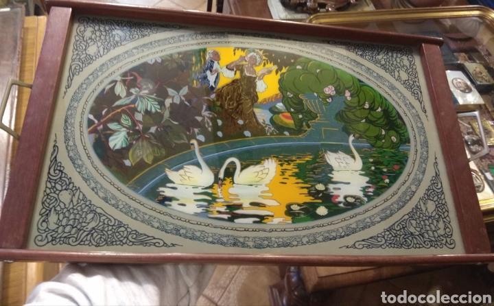 Antigüedades: Antiguo Bandeja Modernista de Madera de Caoba y Cristal Pintado - - Foto 2 - 226139570