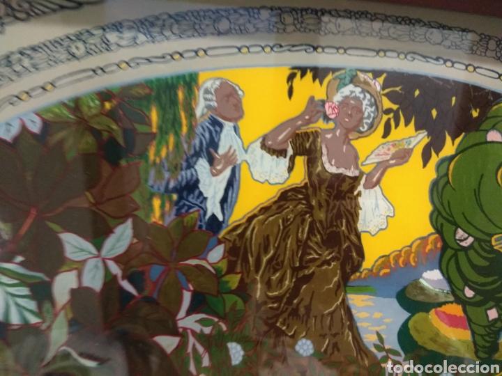 Antigüedades: Antiguo Bandeja Modernista de Madera de Caoba y Cristal Pintado - - Foto 3 - 226139570