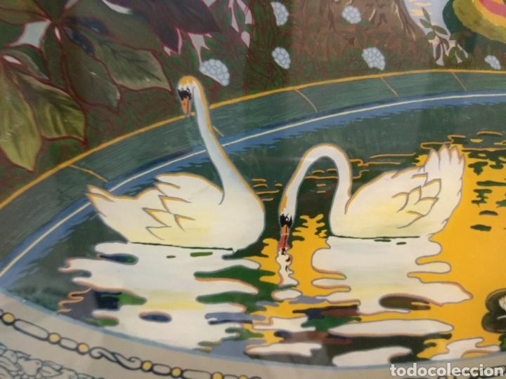 Antigüedades: Antiguo Bandeja Modernista de Madera de Caoba y Cristal Pintado - - Foto 4 - 226139570
