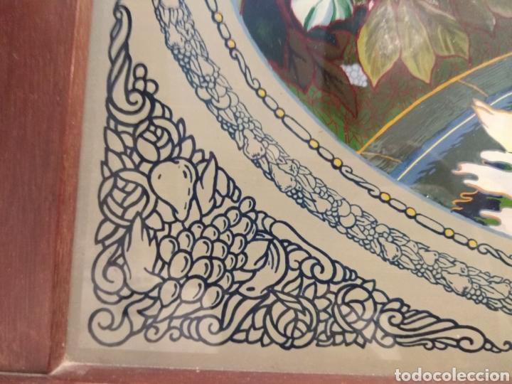 Antigüedades: Antiguo Bandeja Modernista de Madera de Caoba y Cristal Pintado - - Foto 5 - 226139570