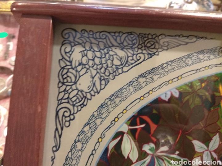 Antigüedades: Antiguo Bandeja Modernista de Madera de Caoba y Cristal Pintado - - Foto 6 - 226139570