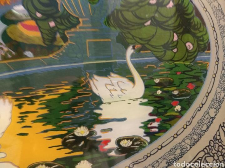 Antigüedades: Antiguo Bandeja Modernista de Madera de Caoba y Cristal Pintado - - Foto 7 - 226139570