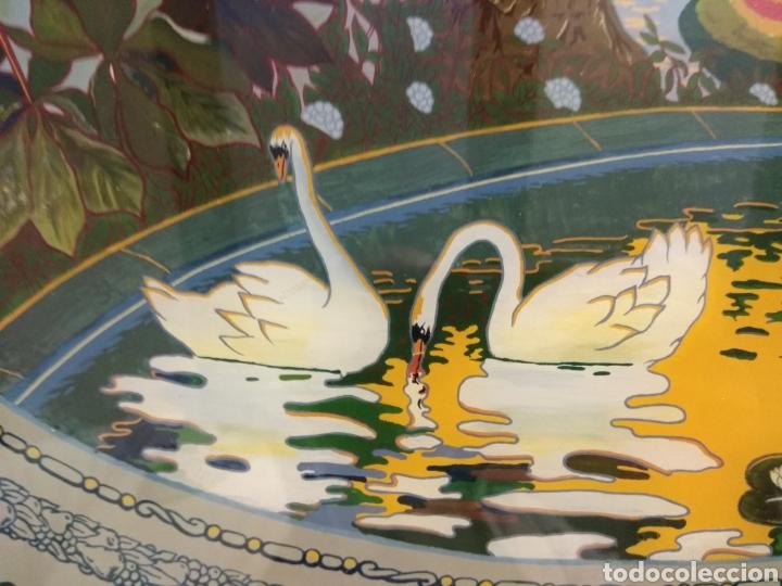 Antigüedades: Antiguo Bandeja Modernista de Madera de Caoba y Cristal Pintado - - Foto 9 - 226139570