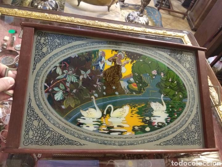 Antigüedades: Antiguo Bandeja Modernista de Madera de Caoba y Cristal Pintado - - Foto 11 - 226139570