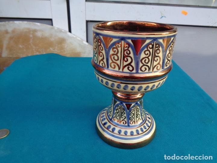 COPÓN CÁLIZ CERÁMICA REFLEJO DE MANISES (Antigüedades - Porcelanas y Cerámicas - Manises)
