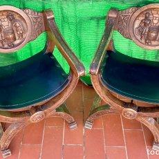 Antigüedades: JAMUGAS. PAREJA DE SILLONES JAMUGAS DE MADERA TALLADOS. Lote 226156367