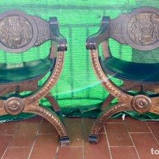 Antigüedades: JAMUGAS. PAREJA DE SILLONES JAMUGAS DE MADERA TALLADOS ANTIGUOS. Lote 236466125