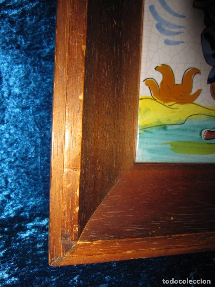 Antigüedades: Antiguo azulejo Trovador pintado artesano - Foto 7 - 226240455