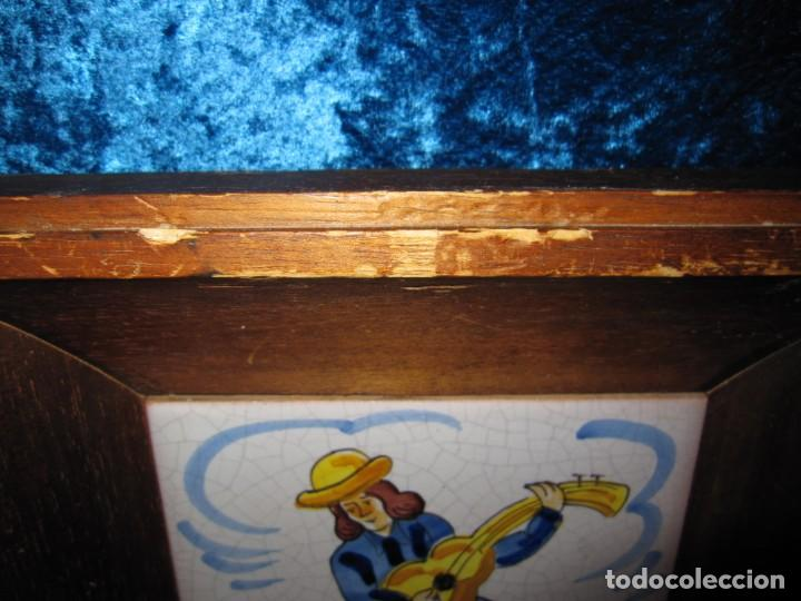 Antigüedades: Antiguo azulejo Trovador pintado artesano - Foto 8 - 226240455