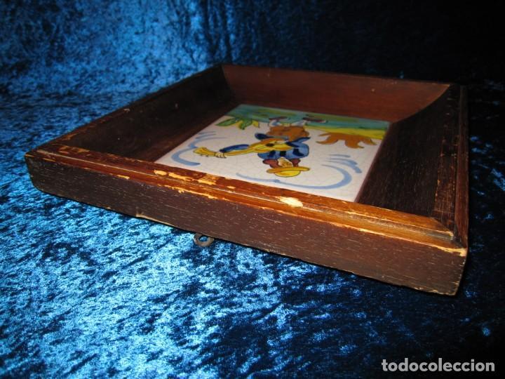 Antigüedades: Antiguo azulejo Trovador pintado artesano - Foto 12 - 226240455