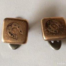 Antigüedades: ANTIGUOS GEMELOS CON DETALLE DE HERRADURA. Lote 225839725