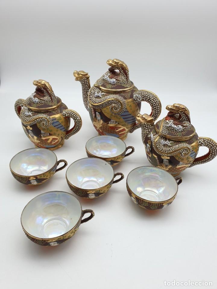 ESPETACULAR PORCELANA JAPONESA ( 3 TETERAS, 5 TAZAS SIN PLATITO ) VER FOTOS (Antigüedades - Porcelana y Cerámica - Japón)