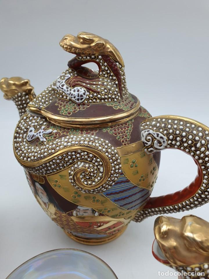 Antigüedades: ESPETACULAR PORCELANA JAPONESA ( 3 TETERAS, 5 TAZAS SIN PLATITO ) VER FOTOS - Foto 3 - 226292405