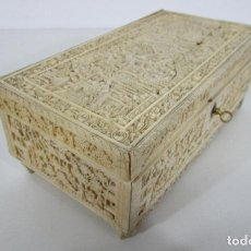 Antigüedades: ANTIGUA CAJA, JOYERO - CANTÓN, CHINA - TALLA DE HUESO CON GRAN CANTIDAD DE PERSONAJES - S.XVIII-XIX. Lote 226310322