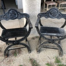 Antiguidades: PAREJA DE ANTIGUAS SILLAS EN MADERA.. Lote 226352225