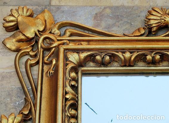 Antigüedades: IMPRESIONANTE Y GRAN ESPEJO MODERNISTA - MADERA - ESTUCO - PAN DE ORO - ALTA DECORACIÓN - NOUVEAU - Foto 3 - 226510760