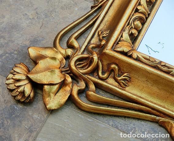 Antigüedades: IMPRESIONANTE Y GRAN ESPEJO MODERNISTA - MADERA - ESTUCO - PAN DE ORO - ALTA DECORACIÓN - NOUVEAU - Foto 20 - 226510760