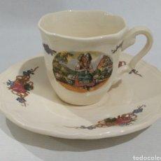 Antigüedades: TAZA DE CAFÉ DE LA SERIE OBERNAI DE SARREGUEMINES FRANCIA AÑOS 30/50. Lote 226541431