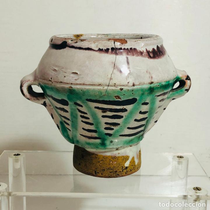 ALMIREZ 3 ASAS, MORTERO CERAMICA ESMALTADA - TERUEL S. XVIII (Antigüedades - Porcelanas y Cerámicas - Teruel)