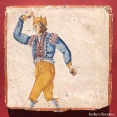 Antiguidades: AZULEJO MANISES - SIGLO XVIII - DANZA - BAILE - OFICIOS - CASTAÑUELAS. Lote 226618710