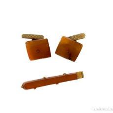 Antigüedades: PINZA PARA CORBATA Y GEMELOS ANTIGUOS DE ÁMBAR. Lote 226623630