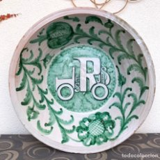 Antigüedades: GRAN LEBRILLO DE LOZA EN VERDE. FAJALAUZA. 61 CM DE DIÁMETRO. Lote 226626575
