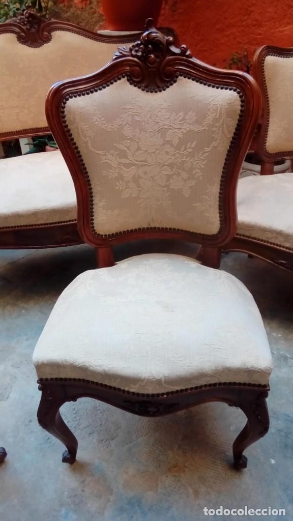 Antigüedades: juego de sillones isabelinos-5 piezas- - Foto 2 - 226634455