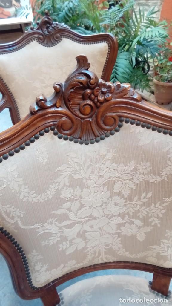 Antigüedades: juego de sillones isabelinos-5 piezas- - Foto 3 - 226634455