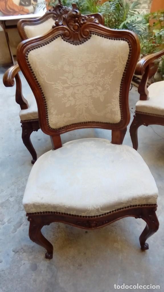 Antigüedades: juego de sillones isabelinos-5 piezas- - Foto 4 - 226634455