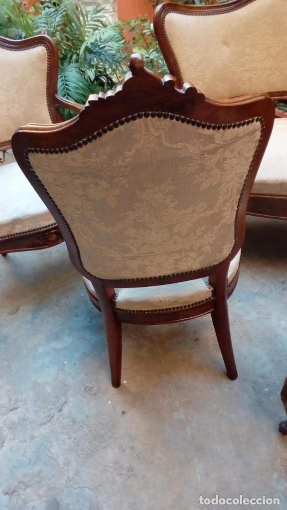 Antigüedades: juego de sillones isabelinos-5 piezas- - Foto 5 - 226634455
