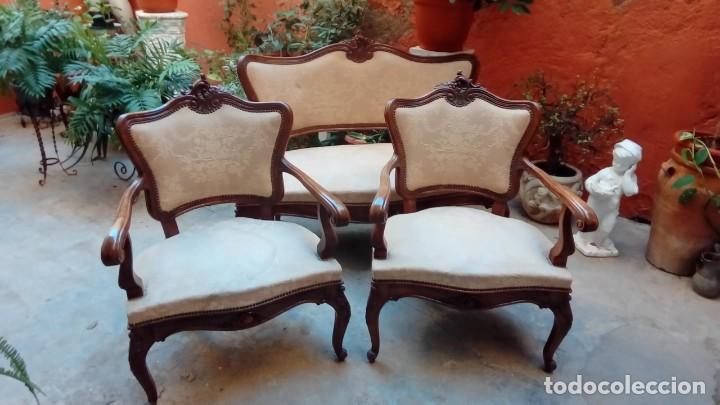 Antigüedades: juego de sillones isabelinos-5 piezas- - Foto 6 - 226634455