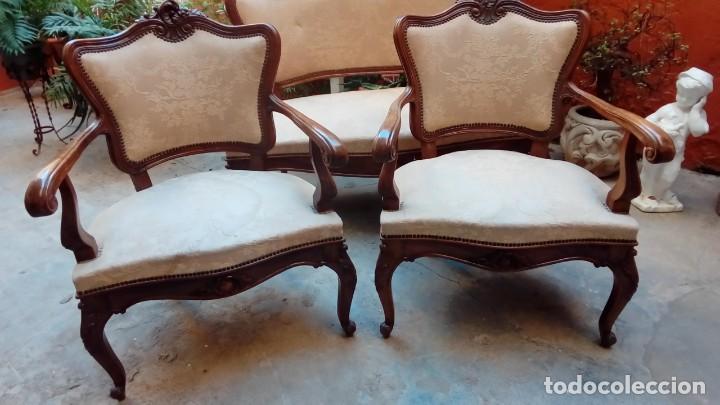 Antigüedades: juego de sillones isabelinos-5 piezas- - Foto 7 - 226634455