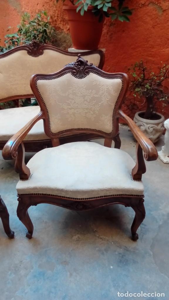 Antigüedades: juego de sillones isabelinos-5 piezas- - Foto 8 - 226634455